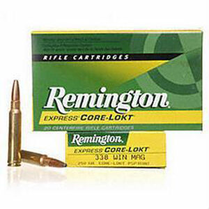 Remington Express .338 Winchester Magnum Ammunition 20 Rounds 250 Grain Core-Lokt PSP Soft Point Projectile 2660fps