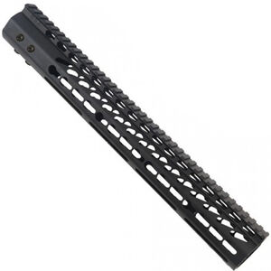 "Guntec 15"" Ultra Lightweight Thin M-LOK Free Floating Handguard with Monolithic Top Rail LR-308 DPMS Low Profile 13.7 oz. Aluminum Body Steel Barrel Nut Black"