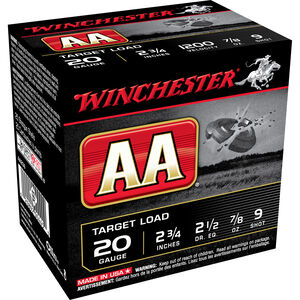 "Winchester AA Target 20 Gauge Ammunition 25 Rounds 2-3/4"" #9 Lead 7/8 Ounce Shot 1200fps"