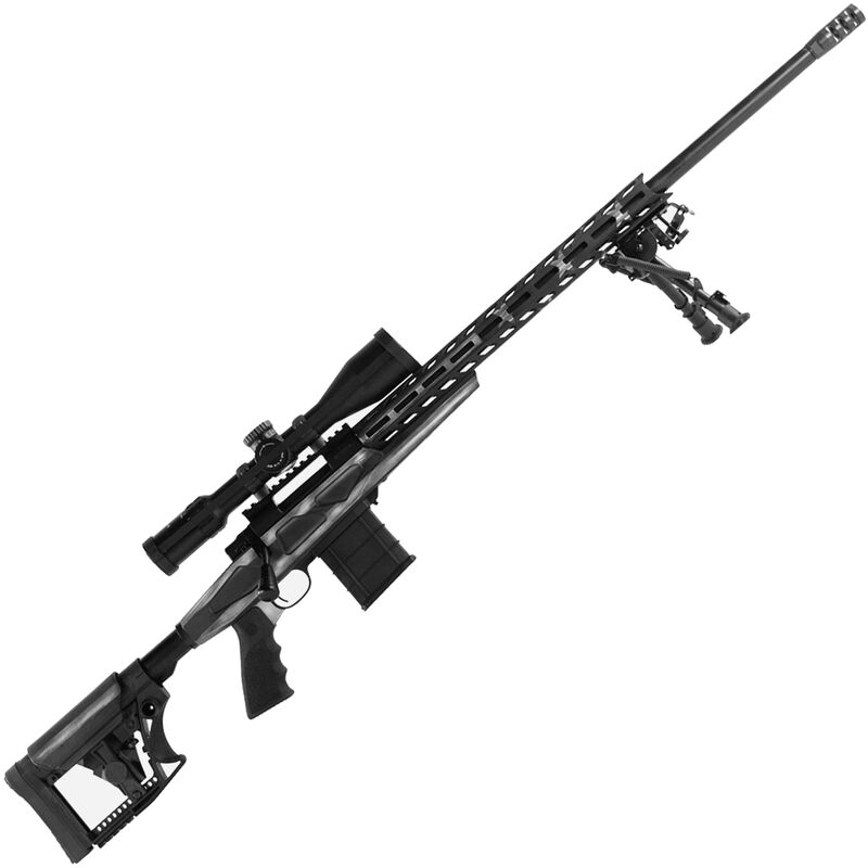 """Howa American Flag Chassis .223 Rem Bolt Action Rifle 24"""" Barrel 10 Rounds APC Aluminum Chassis M-LOK Forend Luth-AR MBA-4 Stock Battleworn Gray US Flag/Black Finish"""