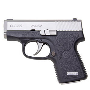 """Kahr CW380 Semi Auto Pistol .380 ACP 2.58"""" Barrel 6 Rounds Combat Rear Sight/Night Sight Front Black Polymer Frame Matte Stainless Steel Slide Finish CW3833N"""