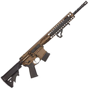 "LWRC Direct Impingement AR-15 Semi Auto Rifle 5.56 NATO 16.1"" Spiral Fluted Heavy Barrel 10 Rounds Modular Free Float Rail System Collapsible Stock Burnt Bronze"