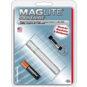 Maglite Solitaire Xenon Flashlight 2 Lumens 1x AAA Battery Twist Switch Key Ring Mount Aluminum Body Silver K3A106