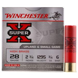 """Winchester Super-X High Brass 28 Gauge Ammunition 25 Round Box 2-3/4"""" #6 Lead 3/4 oz 1295 fps"""