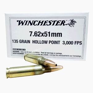 Winchester 7.62 NATO Ammunition 20 Rounds HP 135 Grain Brass Cased Boxer Primed