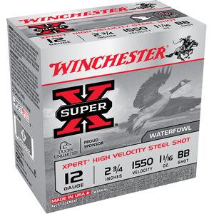 "Winchester Super-X Xpert High Velocity Steel Shot 12 Gauge Ammunition 25 Round Box 2-3/4"" BB Steel Shot 1-1/16 oz 1550 fps"