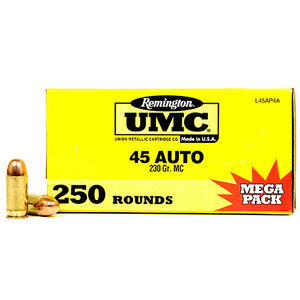 Remington UMC .45 ACP Ammunition 250 Rounds 230 Grain Full Metal Jacket 835fps Mega Value Pack