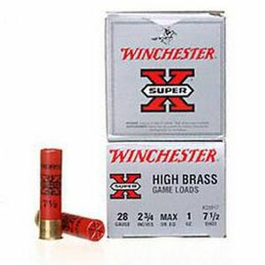 "Winchester Super X Game Load 28 Gauge Ammunition 250 Rounds 2.75"" #7.5 Lead 1 Ounce X28H7"