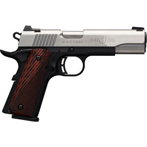 """Browning 1911-380 Black Label Medallion .380 ACP Semi Auto Pistol 4.25"""" Barrel 8 Rounds Rosewood Laminate Grips Two Tone Stainless Steel Slide Black Poly Frame"""