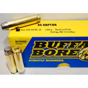 Buffalo Bore .45 Raptor Ammunition 20 Rounds HCFN 360 Grains