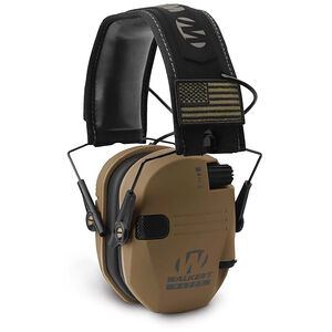 Walker's Patriot Electronic Muff 23 dB Battle Brown Ear Cups with Black Headband & White Logo