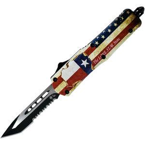 "Templar Knife Mini Texan 2.75"" Serrated Tanto Black SS Blade OTF Push Button Opening Pocket Clip Glass Breaker Aluminum Handle"