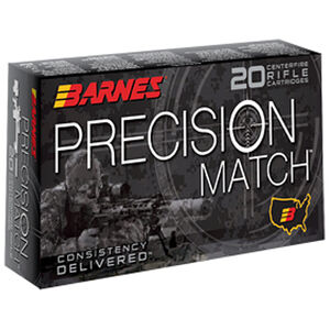Barnes Precision Match .300 AAC Blackout Ammunition 20 Rounds 125 Grain Open Tip Match Boat Tail Projectile 2215fps