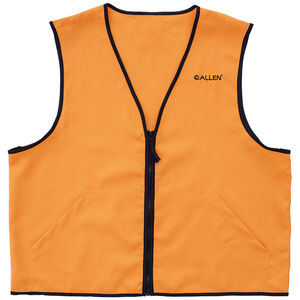 Allen Deluxe Blaze Orange Hunting Vest XL Standard Fit Heavy Duty Zipper Two Large Pockets Polyester High Visibility Orange
