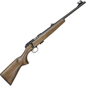 "CZ USA 457 Scout .22 LR Bolt Action Rimfire Rifle 16.5"" Threaded Barrel 1 Round Rifle Sights with Integrated 11mm Scope Base Beechwood Stock Blued Finished"