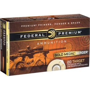 Federal Gold Medal Berger 6.5mm Creedmoor Ammunition 20 Rounds OTM 130 Grains GM65CRDBH130