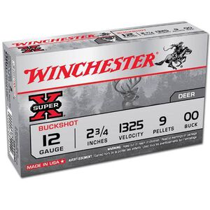 "Winchester Super X 12 Gauge Shotshell 5 Rounds, 2.75"", Nine Pellet, Lead 00 Buck"
