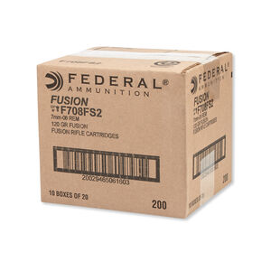 Federal Fusion 7mm-08 Remington Ammunition 200 Rounds SP 120 Grain 3,000 Feet Per Second