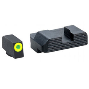 AmeriGlo Tritium Protector Sight Set For GLOCK 10mm Auto/.45 ACP Models Green Tritium Front With LumiGreen Outline Black Serrated Rear Steel Matte Black GL-703