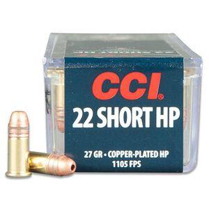 CCI .22 Short Ammunition 100 Rounds Copper Plated HP 27 Grain 1,105 Feet Per Second