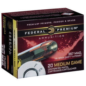 Federal .357 Magnum Ammunition 20 Rounds Swift A-Frame 180 Grains P357SA