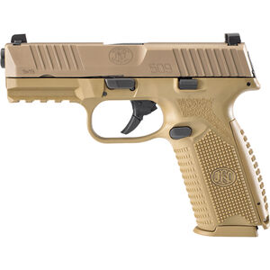"""FN America FN 509 Full Size 9mm Luger Semi Auto Pistol 4"""" Barrel 10 Rounds Ambidextrous Controls Polymer Frame FDE"""