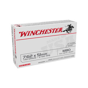 Winchester Lake City M80 7.62x51mm NATO Ammunition 500 Rounds 149 Grain FMJ WM80