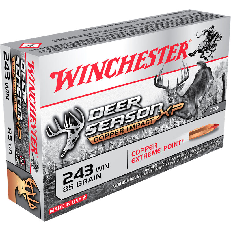 Winchester Deer Season XP Copper Impact .243 Win Ammunition 20 Rounds 85 Grain LF Solid Copper Poly Tip 3260fps