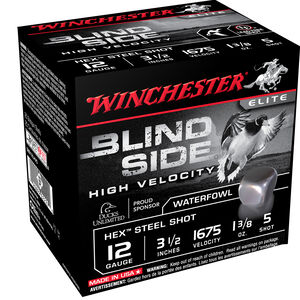"""Winchester Blind Side 12 Gauge Ammunition 3-1/2"""" #5 Steel Hex Shot 1-3/4 Oz 1675 fps"""