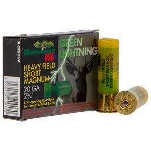 """Brenneke USA Green Lightning 20 Gauge Ammunition 5 Rounds 2-3/4"""" 1 oz Rifled Slug 1392 fps"""