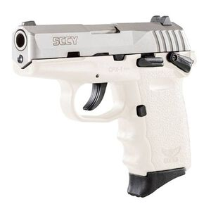 """SCCY CPX-1  9mm with Safety 3.10"""" Barre, 10 Rounds, Stainless Steel/White"""
