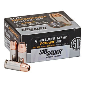 SIG Sauer Elite Performance V-Crown Ammunition 20 Rounds 9mm Luger 147 Grain V-Crown Jacketed Hollow Point Projectile 985fps