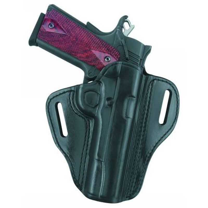 Gould & Goodrich 800 Open Top Two Slot Belt Holster Right Hand Fits Colt 1911 Officer/Commander Leather Black