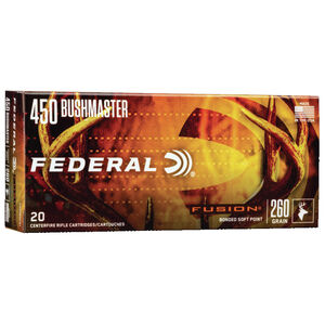Federal Fusion 450 Bushmaster Ammunition 20 Rounds 260 Grain Fusion JHP 1900 fps