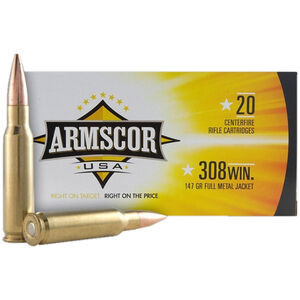 Armscor Precision .308 Win Ammunition 20 Rounds 147 Grain FMJ 2700fps