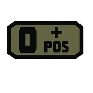 Voodoo Tactical Blood Type Patch O + POS TPR Rubber Olive Drab