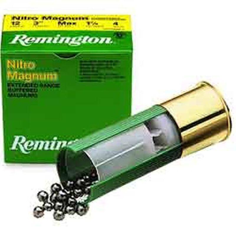 "Remington Nitro Magnum Buffered 20 Gauge Ammunition 25 Rounds 2-3/4"" Length 1-1/8 Ounce #4 Lead Shot 1175fps"