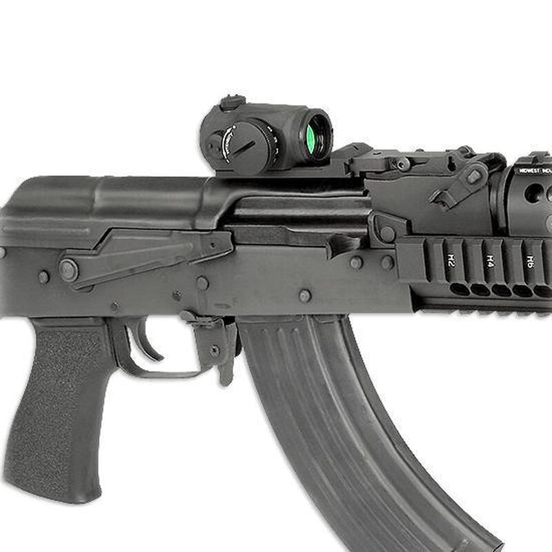 Midwest Industries AK-47 Trijicon RMR Mini Reflex Mount System Built in  Rear Iron Sight Melonite Coated Steel and Anodized Aluminum Black