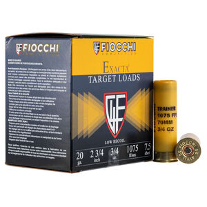 """Fiocchi Low Recoil Trainer 20 Gauge Ammunition 2-3/4"""" #7.5 Lead 3/4 Ounce 1075 fps"""