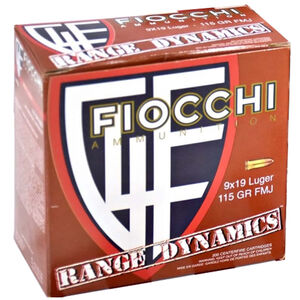 Fiocchi Range Dynamics 9mm Luger Ammunition 1000 Rounds 115 Grain Full Metal Jacket 1200fps