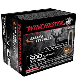 .500 S&W Winchester 375 Grain Supreme Elite Dual Bond Dual Jacketed Hollow Point 1725 fps 20 Round Box S500SWDB