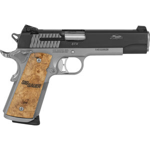 "SIG Sauer 1911 STX Full-Size .45 ACP Semi Auto Pistol 5"" Barrel 8 Rounds Night Sites Steel Frame Maple Wood Grips Two Tone Black/Stainless Finish"