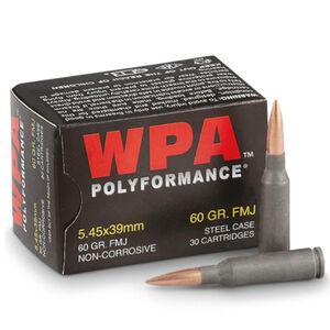 Wolf Polyformance 5.45x39 Ammunition 750 Rounds 60 Grain Full Metal Jacket Bi-Metal Jacket Steel Cased 2936fps