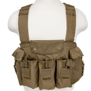 NcSTAR AK Chest Rig Holds 6 AK style Magazines and 2 Addition Item Pouches Nylon Tan