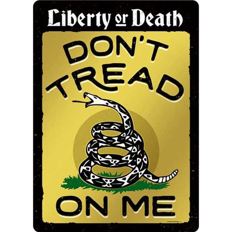 """Open Road Brands """"Don't Tread On Me"""" Gadsden Flag Embossed Tin Sign with Knock Out 10""""x14"""""""
