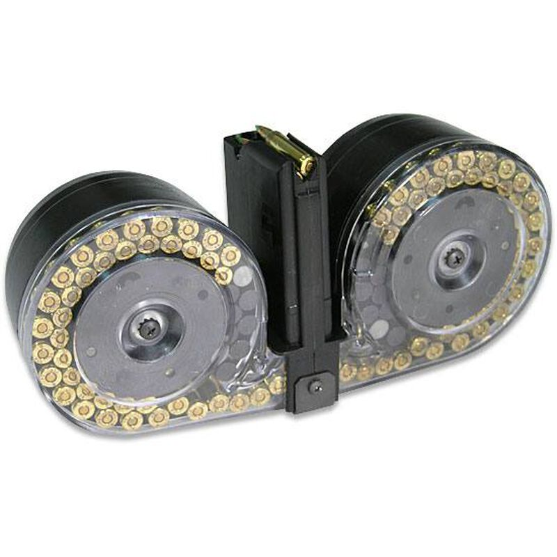 Red White & Blue AR-15 Drum Magazine 5 56 NATO/ 223 Rem 100 Rounds Clear  Back Pouch Loader and Lube
