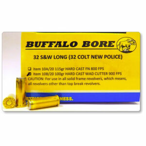 Buffalo Bore .32 S&W Long Ammunition 20 Rounds Hard Cast Wad Cutter 100 Grains 10B/20