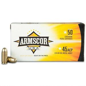 Armscor USA .45 ACP Ammunition FMJ 230 Grains 50 Rounds F AC 45A-12N