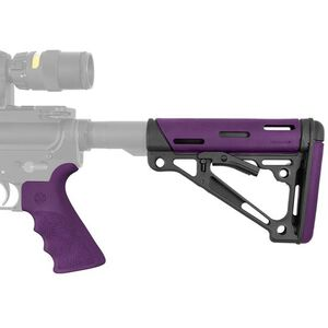 Hogue AR-15 Overmolded Collapsible Commercial Stock With Beavertail Pistol Grip Polymer Purple 15655