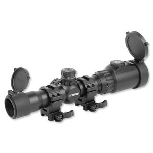 Leapers UTG ACCUSHOT 1-4x28 Long Eye Relief Scope 36 Color Mil-Dot Reticle 30mm Tube QD Rings Matte Black SCP3-14LIEMDQ
